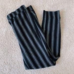 Black striped fitting cloth pants